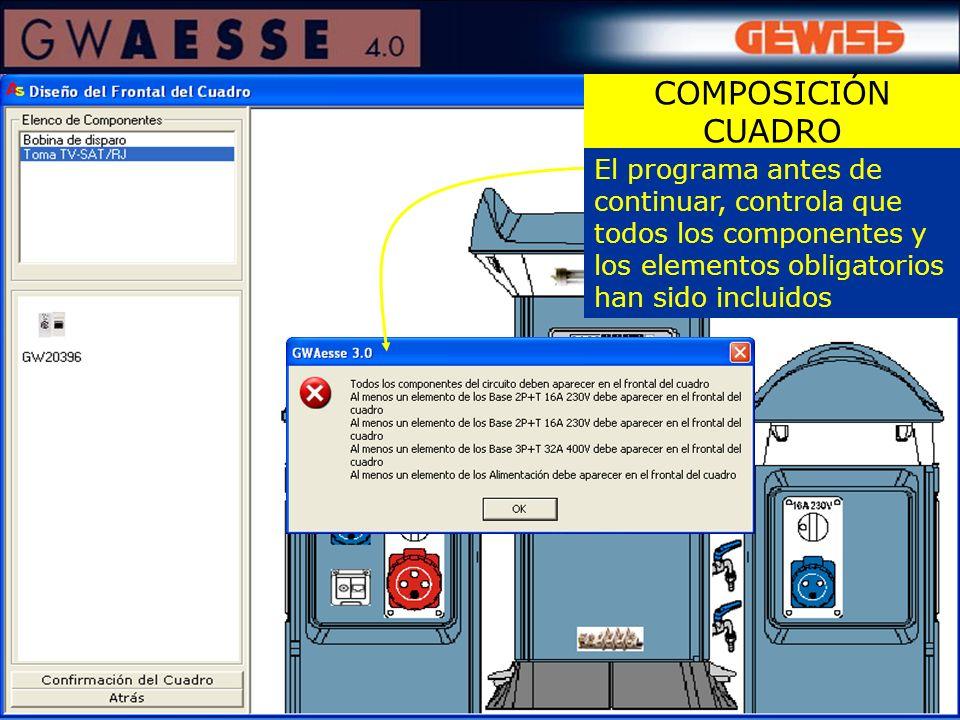 COMPOSICIÓN CUADRO El programa antes de continuar, controla que todos los componentes y los elementos obligatorios han sido incluidos.