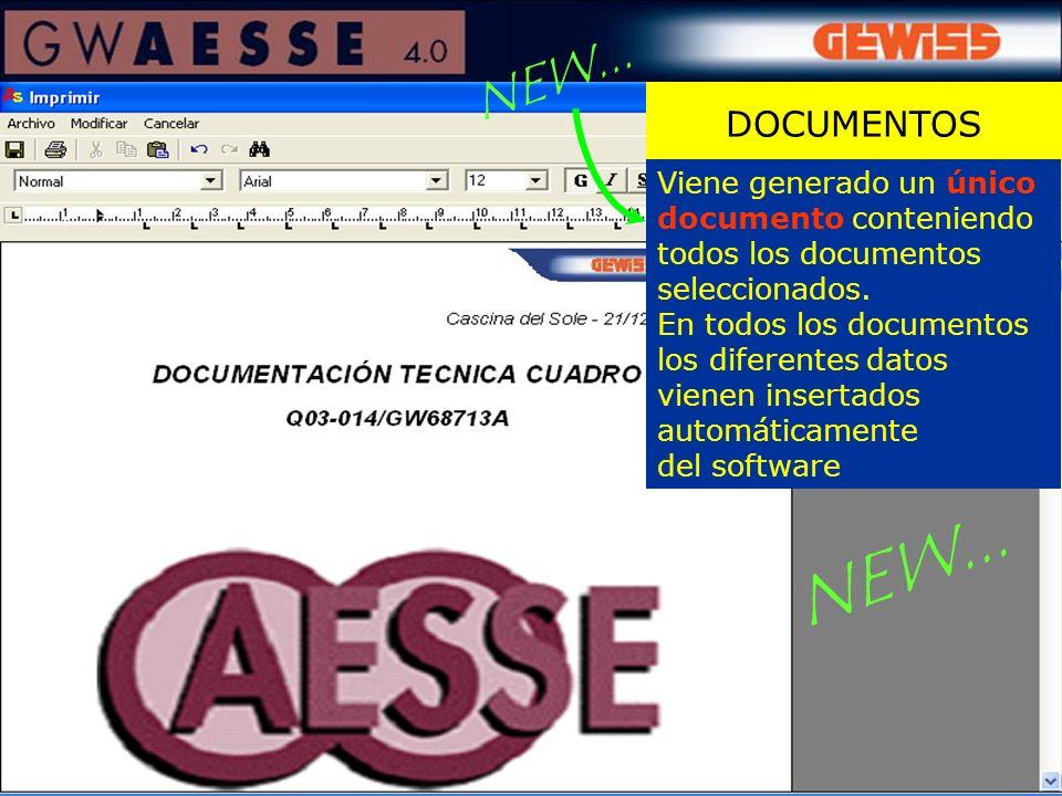 NEW... DOCUMENTOS. Viene generado un único documento conteniendo todos los documentos seleccionados.