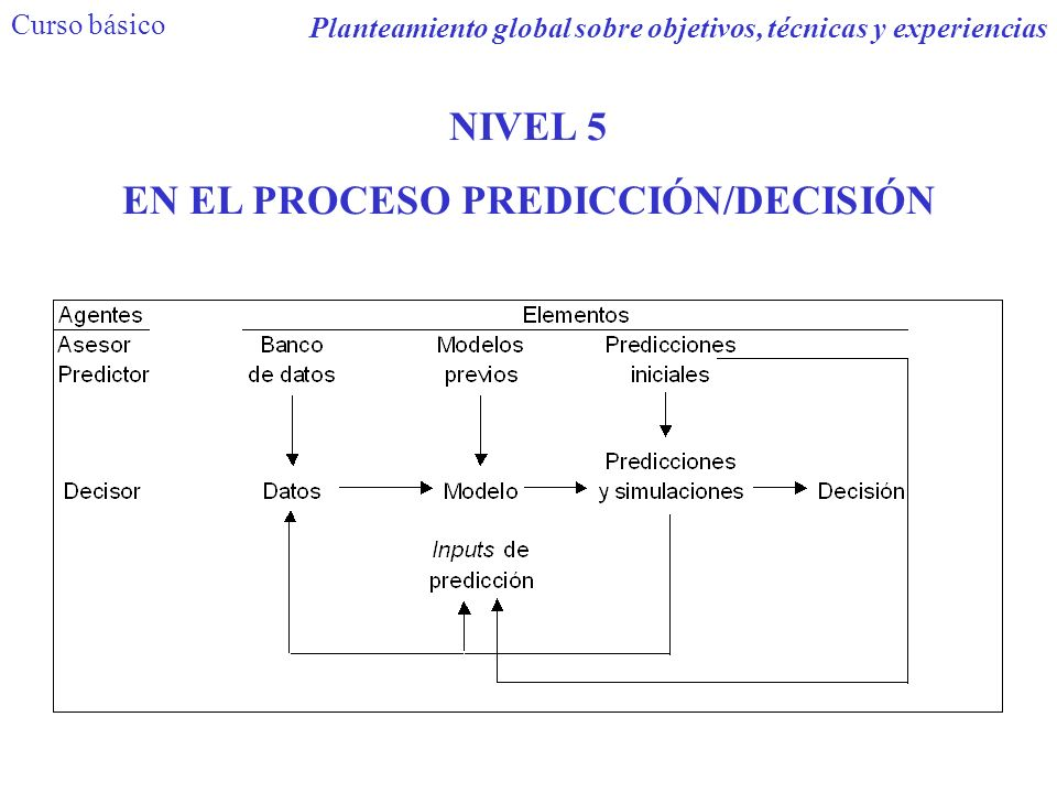 EN EL PROCESO PREDICCIÓN/DECISIÓN