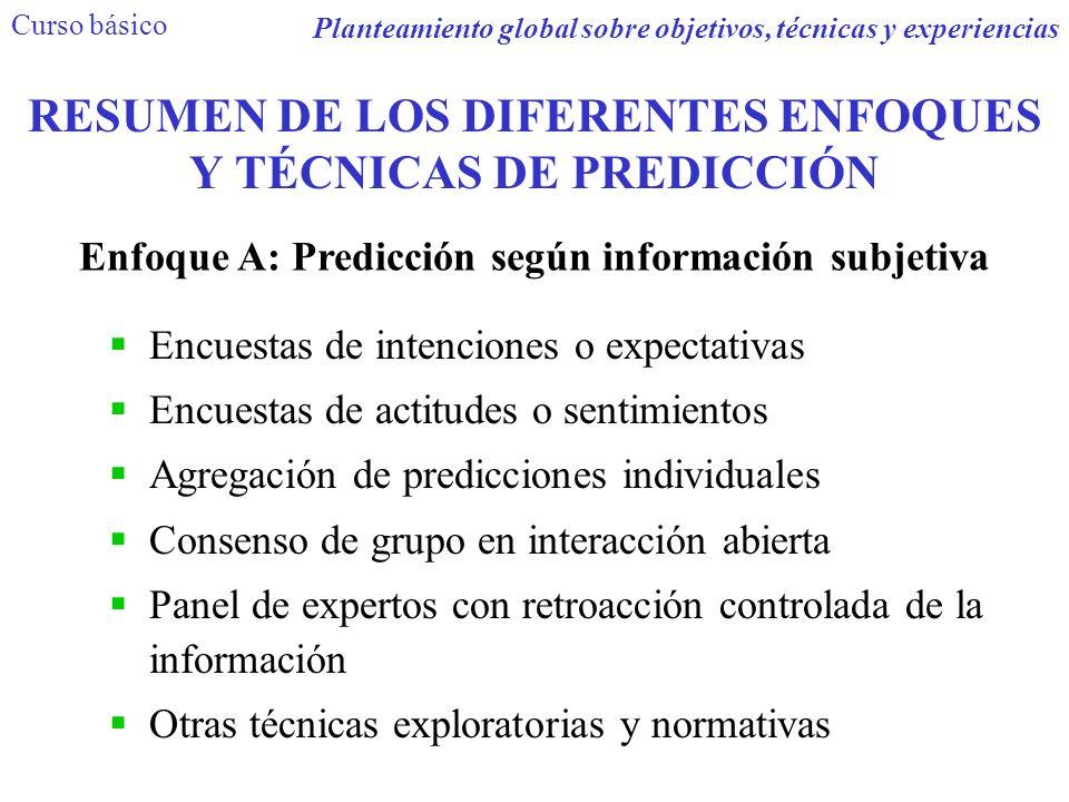RESUMEN DE LOS DIFERENTES ENFOQUES Y TÉCNICAS DE PREDICCIÓN