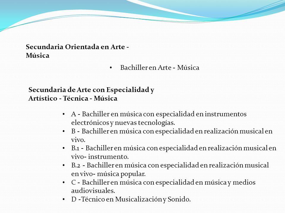 Secundaria Orientada en Arte - Música