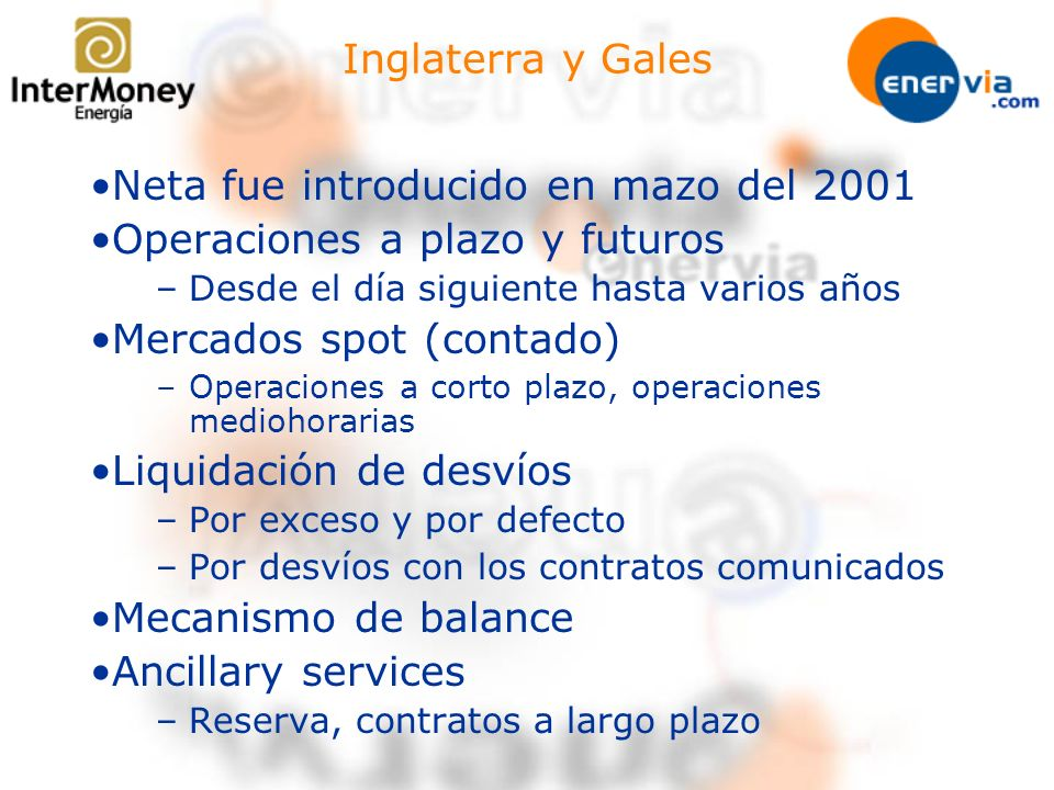 Neta fue introducido en mazo del 2001 Operaciones a plazo y futuros