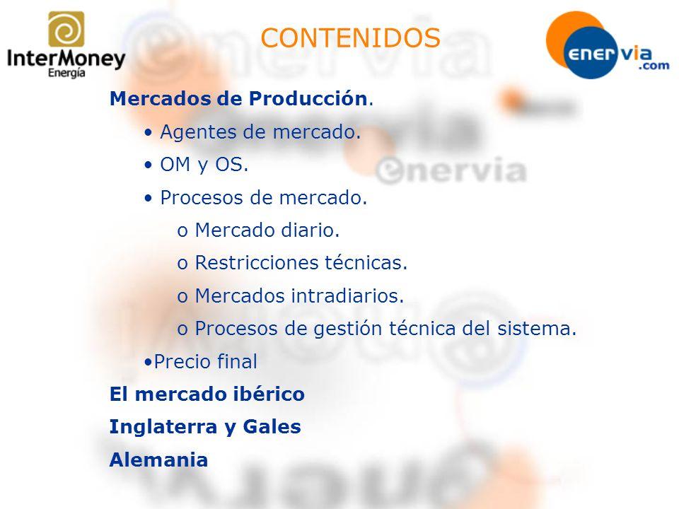 CONTENIDOS Mercados de Producción. Agentes de mercado. OM y OS.
