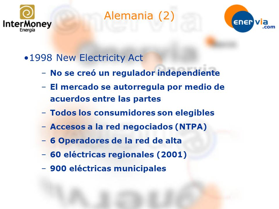 Alemania (2) 1998 New Electricity Act
