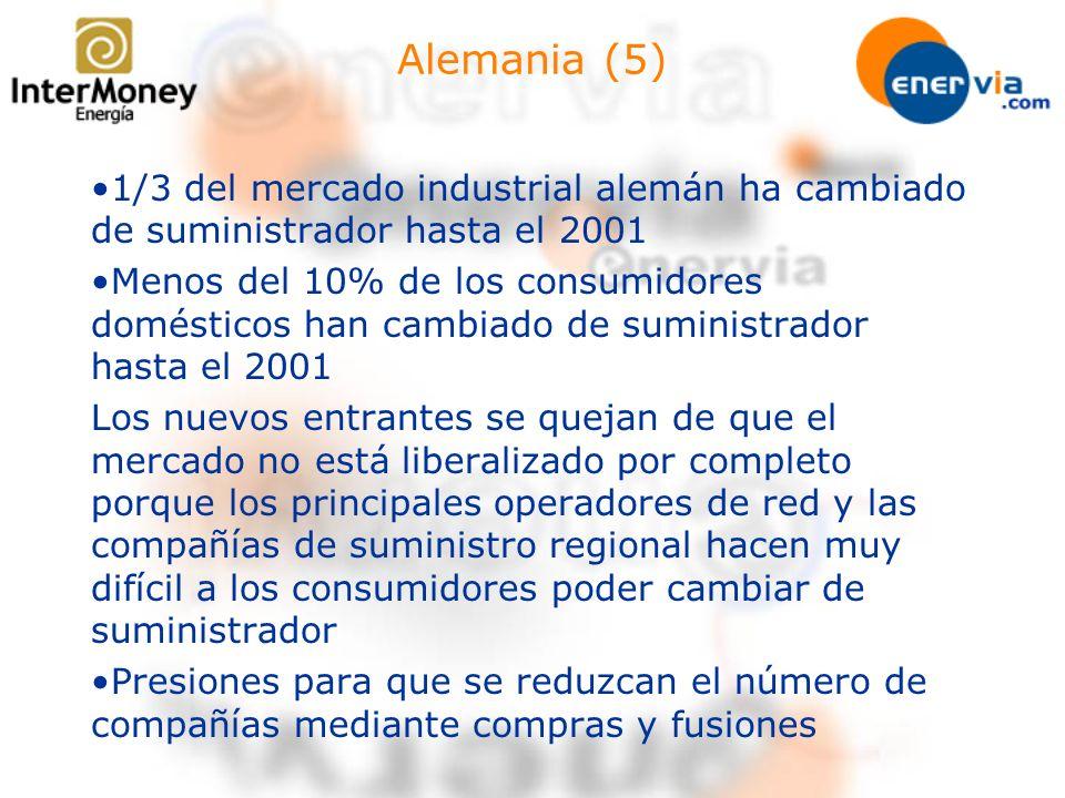Alemania (5) 1/3 del mercado industrial alemán ha cambiado de suministrador hasta el 2001.