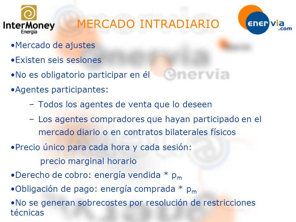 MERCADO INTRADIARIO Mercado de ajustes Existen seis sesiones