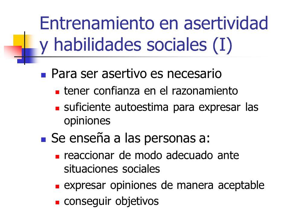 Entrenamiento en asertividad y habilidades sociales (I)