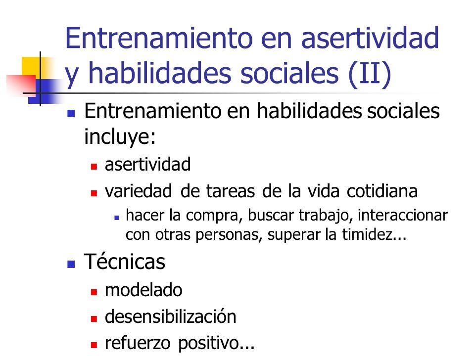 Entrenamiento en asertividad y habilidades sociales (II)