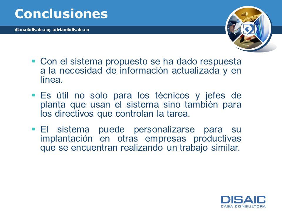 Conclusiones diana@disaic.cu; adrian@disaic.cu.