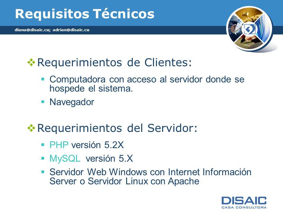 Requisitos Técnicos Requerimientos de Clientes:
