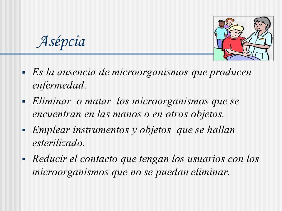 Asépcia Es la ausencia de microorganismos que producen enfermedad.