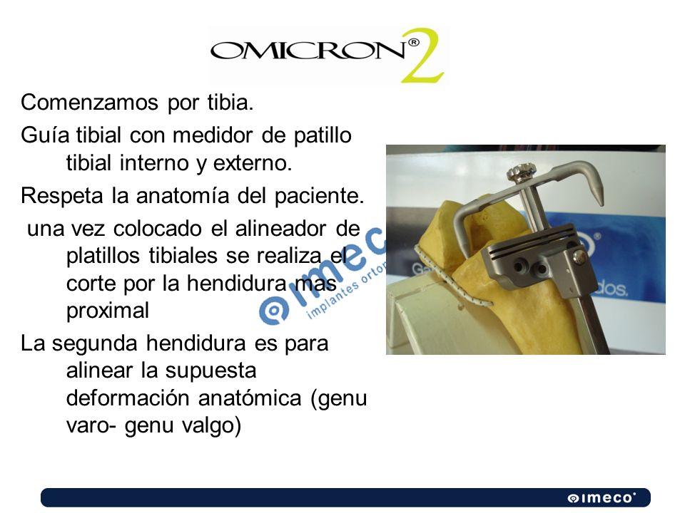Comenzamos por tibia.Guía tibial con medidor de patillo tibial interno y externo. Respeta la anatomía del paciente.