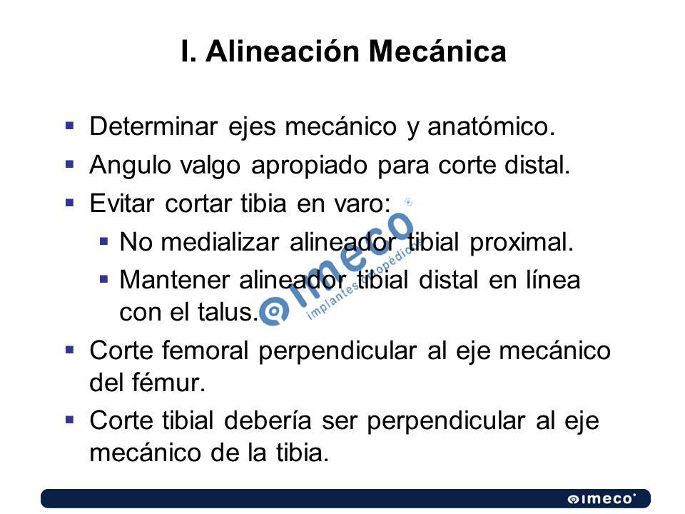 I. Alineación Mecánica Determinar ejes mecánico y anatómico.