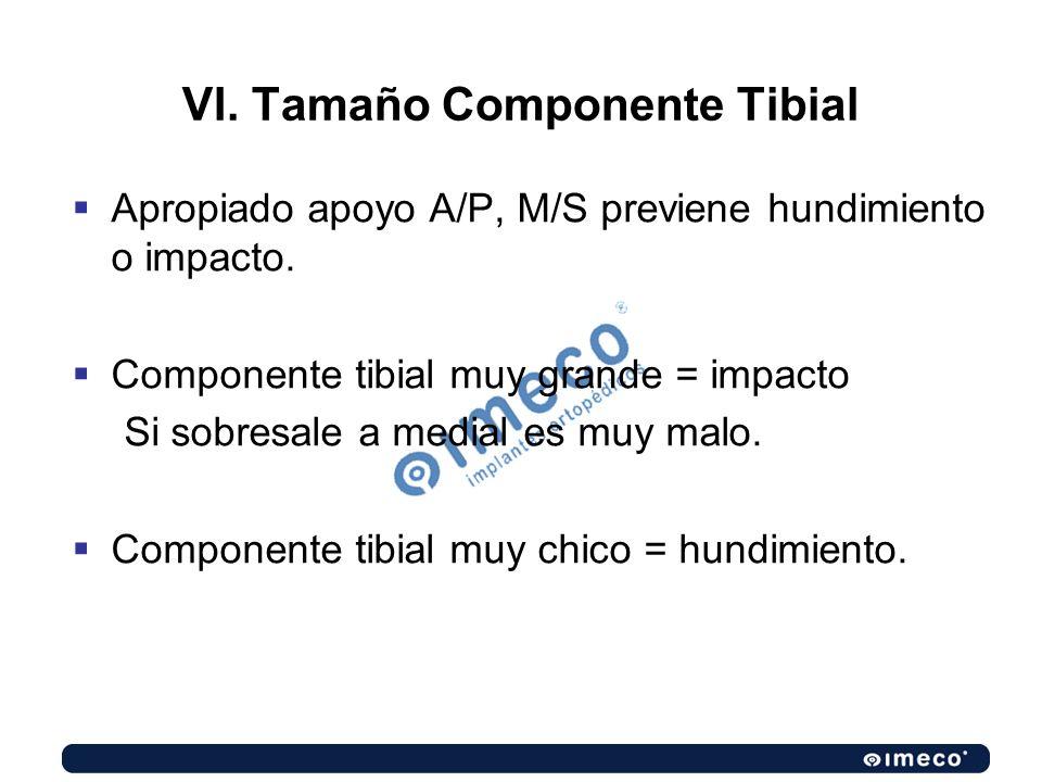 VI. Tamaño Componente Tibial