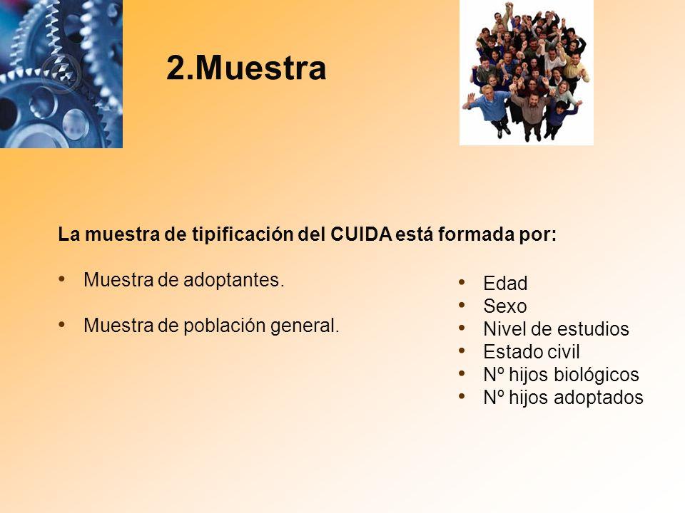 2.Muestra La muestra de tipificación del CUIDA está formada por: