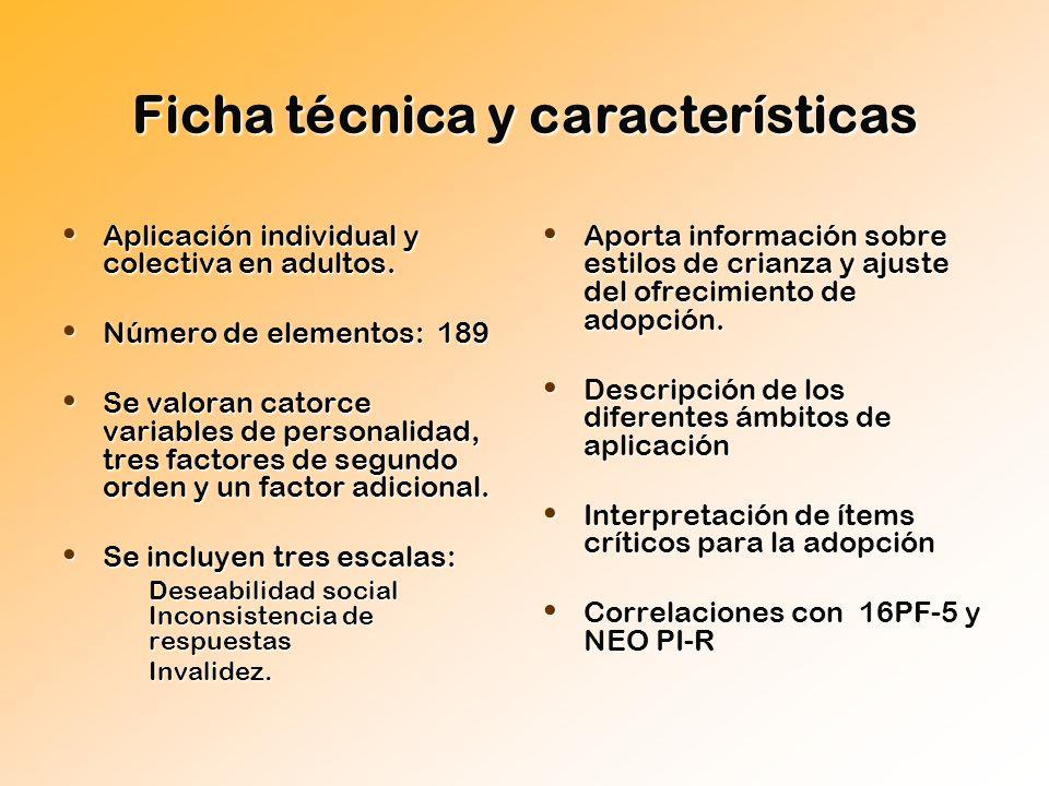 Ficha técnica y características