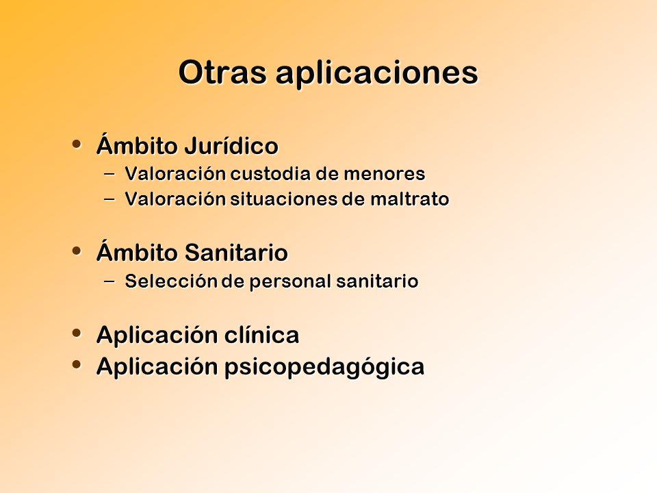 Otras aplicaciones Ámbito Jurídico Ámbito Sanitario Aplicación clínica
