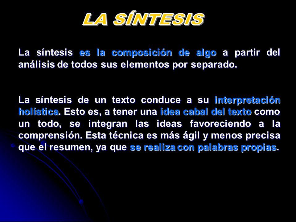 LA SÍNTESIS La síntesis es la composición de algo a partir del análisis de todos sus elementos por separado.
