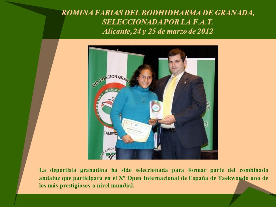 ROMINA FARIAS DEL BODHIDHARMA DE GRANADA, SELECCIONADA POR LA F. A. T