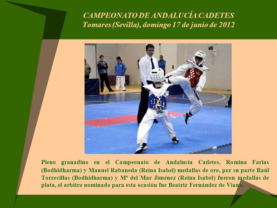 CAMPEONATO DE ANDALUCÍA CADETES Tomares (Sevilla), domingo 17 de junio de 2012