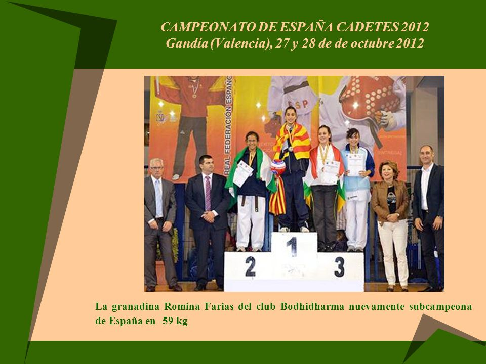 CAMPEONATO DE ESPAÑA CADETES 2012 Gandía (Valencia), 27 y 28 de de octubre 2012