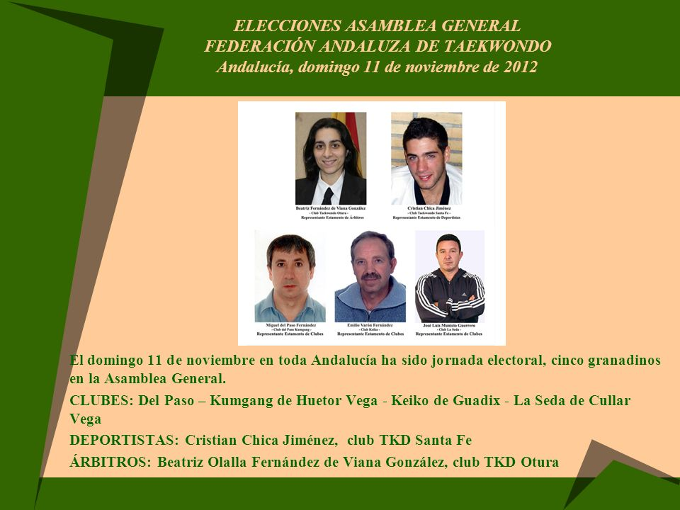 ELECCIONES ASAMBLEA GENERAL FEDERACIÓN ANDALUZA DE TAEKWONDO Andalucía, domingo 11 de noviembre de 2012