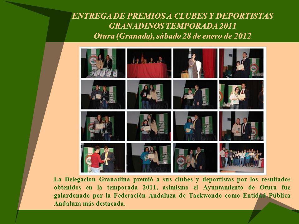 ENTREGA DE PREMIOS A CLUBES Y DEPORTISTAS GRANADINOS TEMPORADA 2011 Otura (Granada), sábado 28 de enero de 2012