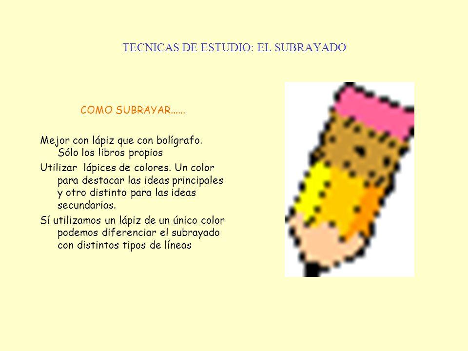 TECNICAS DE ESTUDIO: EL SUBRAYADO
