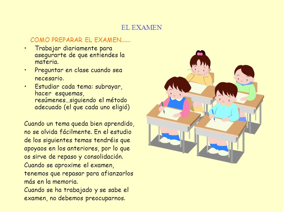 COMO PREPARAR EL EXAMEN......