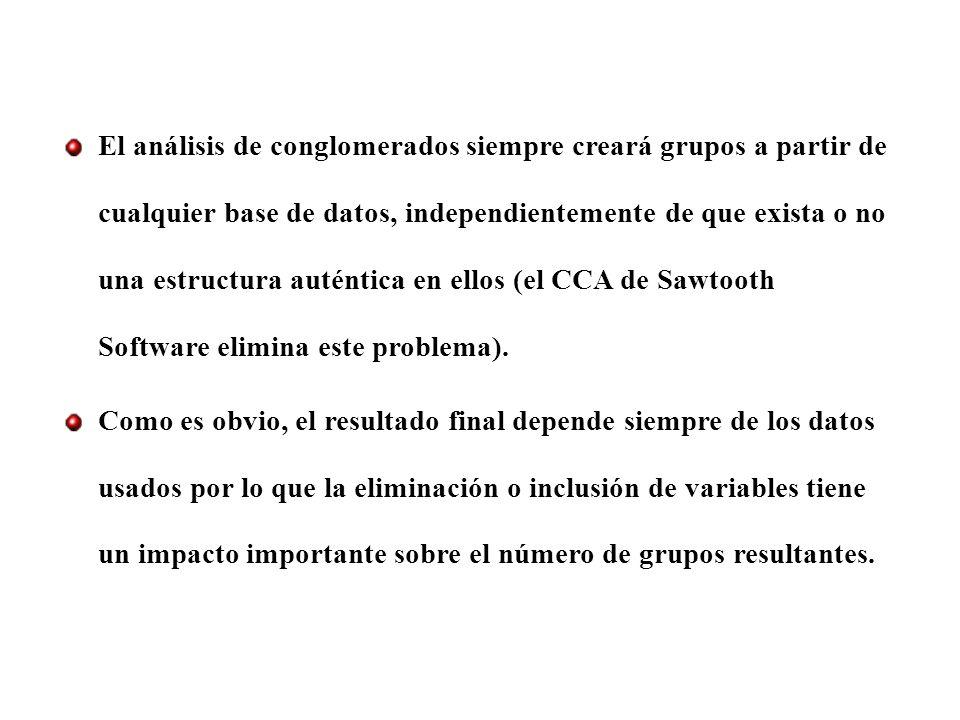 El análisis de conglomerados siempre creará grupos a partir de cualquier base de datos, independientemente de que exista o no una estructura auténtica en ellos (el CCA de Sawtooth Software elimina este problema).