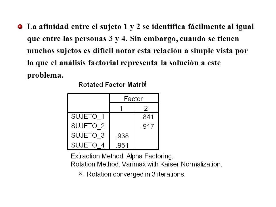 La afinidad entre el sujeto 1 y 2 se identifica fácilmente al igual que entre las personas 3 y 4.