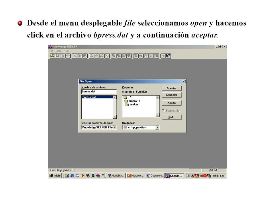 Desde el menu desplegable file seleccionamos open y hacemos click en el archivo bpress.dat y a continuación aceptar.
