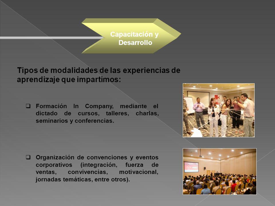 Capacitación y Desarrollo. Tipos de modalidades de las experiencias de aprendizaje que impartimos: