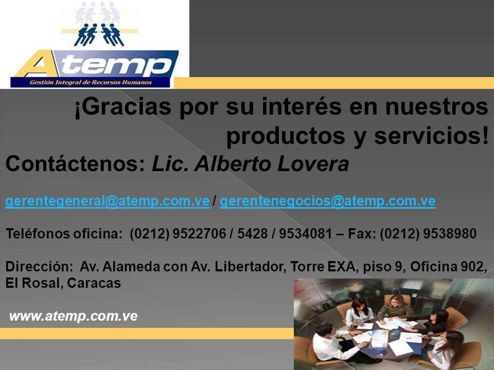 productos y servicios! ¡Gracias por su interés en nuestros
