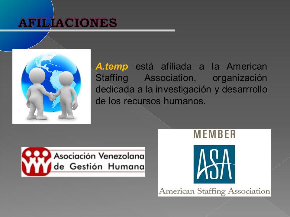 AFILIACIONES A.temp está afiliada a la American Staffing Association, organización dedicada a la investigación y desarrrollo de los recursos humanos.