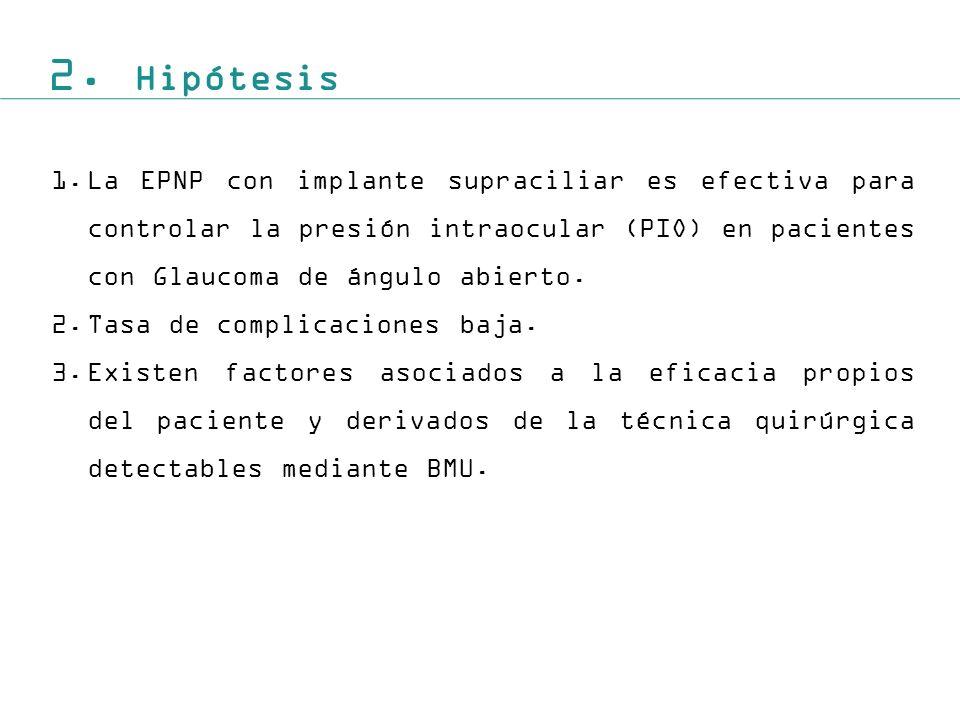 2. Hipótesis La EPNP con implante supraciliar es efectiva para controlar la presión intraocular (PIO) en pacientes con Glaucoma de ángulo abierto.