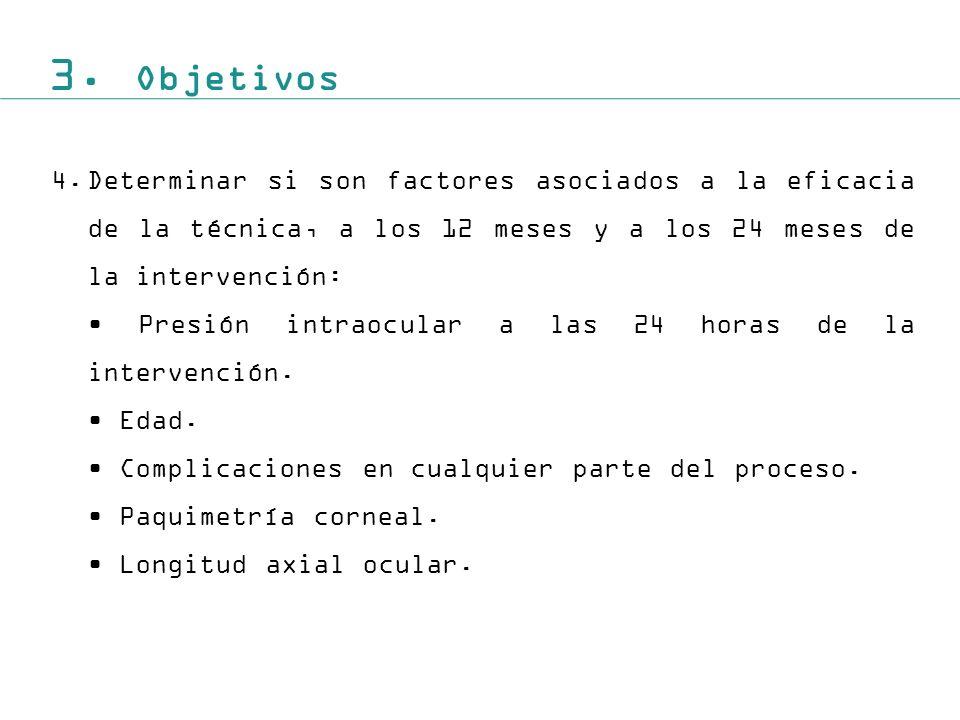 3. Objetivos 4. Determinar si son factores asociados a la eficacia de la técnica, a los 12 meses y a los 24 meses de la intervención: