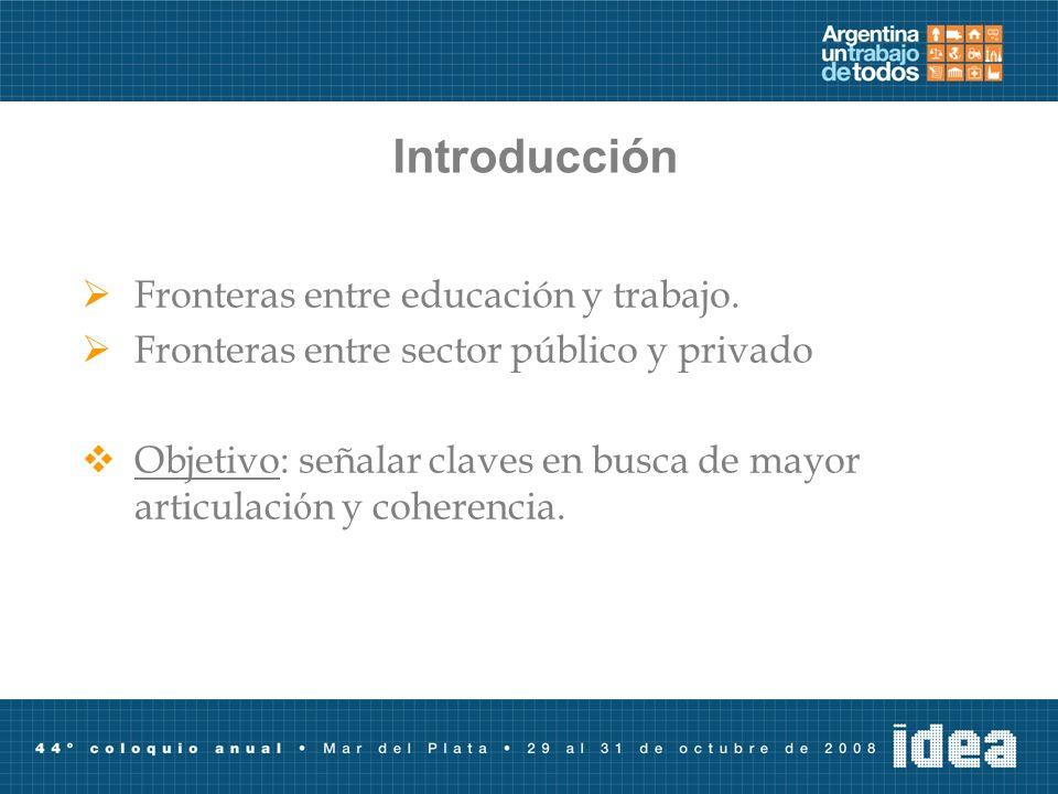 Introducción Fronteras entre educación y trabajo.
