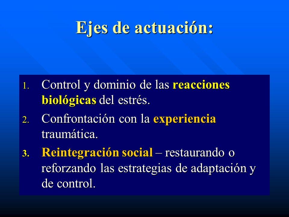 Ejes de actuación:Control y dominio de las reacciones biológicas del estrés. Confrontación con la experiencia traumática.