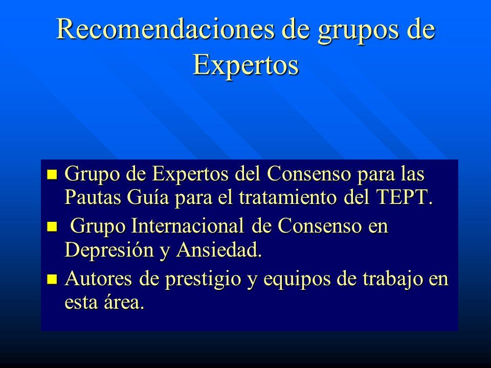 Recomendaciones de grupos de Expertos