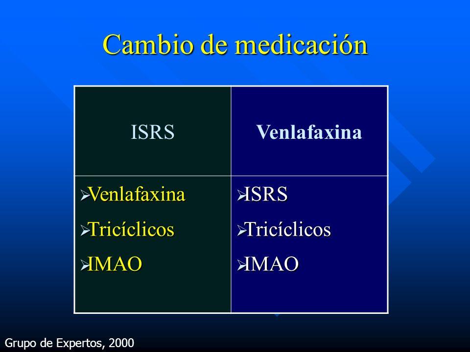 Cambio de medicación ISRS Venlafaxina Tricíclicos IMAO