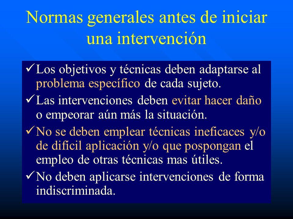 Normas generales antes de iniciar una intervención
