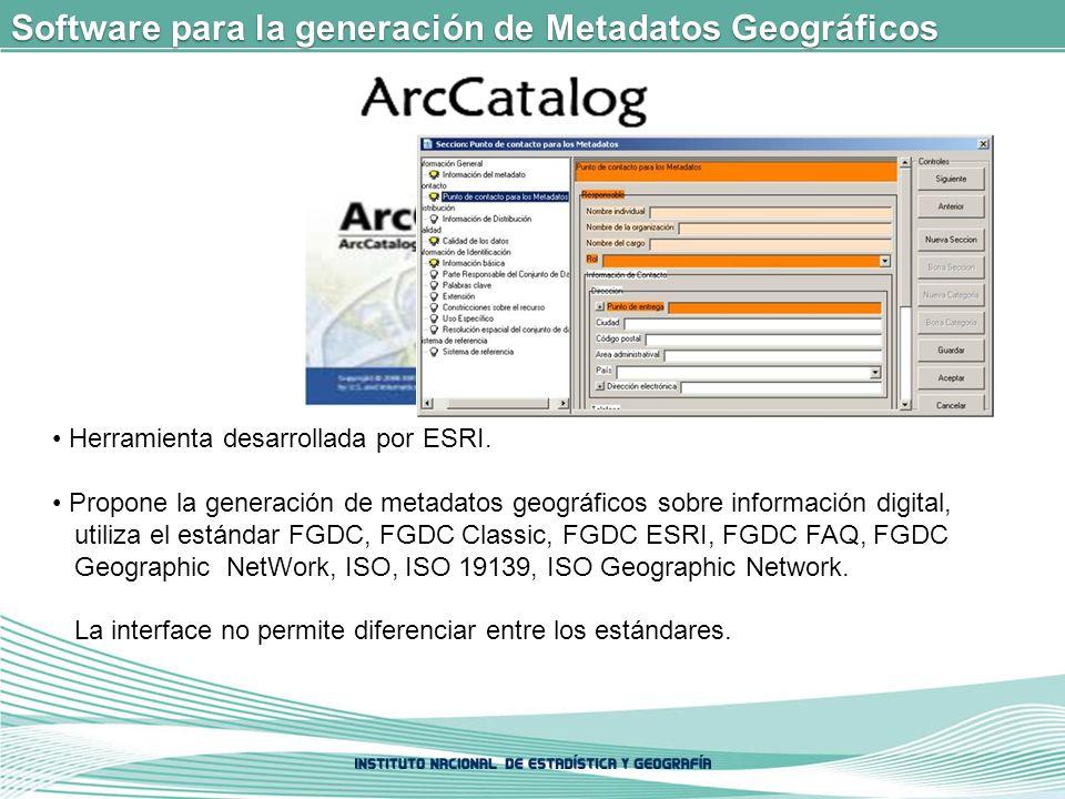 Software para la generación de Metadatos Geográficos