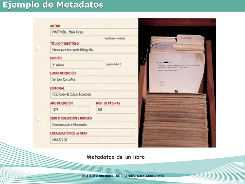 Ejemplo de Metadatos Metadatos de un libro