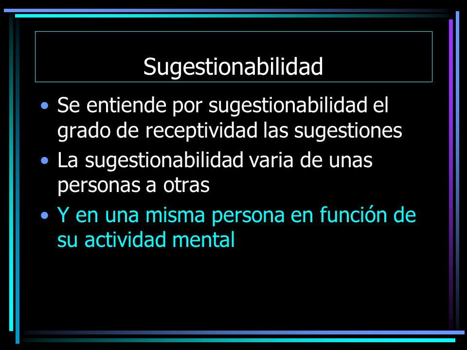 Sugestionabilidad Se entiende por sugestionabilidad el grado de receptividad las sugestiones. La sugestionabilidad varia de unas personas a otras.