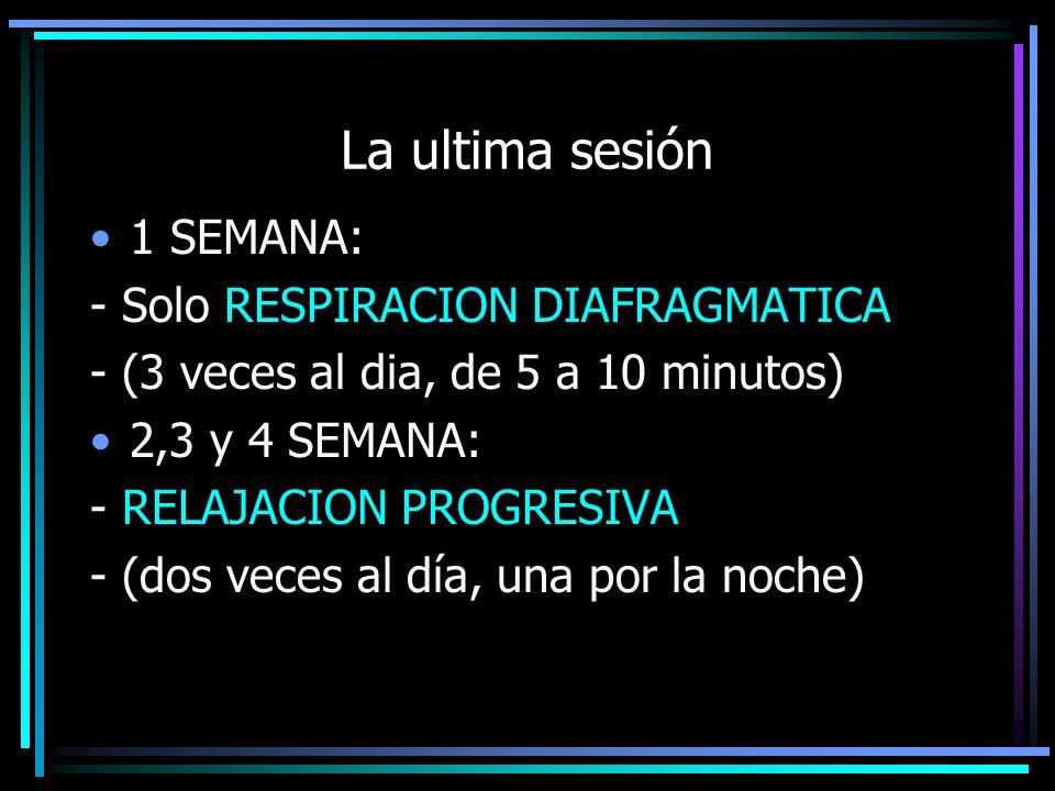 La ultima sesión 1 SEMANA: - Solo RESPIRACION DIAFRAGMATICA