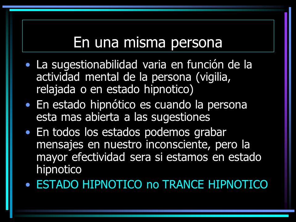 En una misma persona La sugestionabilidad varia en función de la actividad mental de la persona (vigilia, relajada o en estado hipnotico)