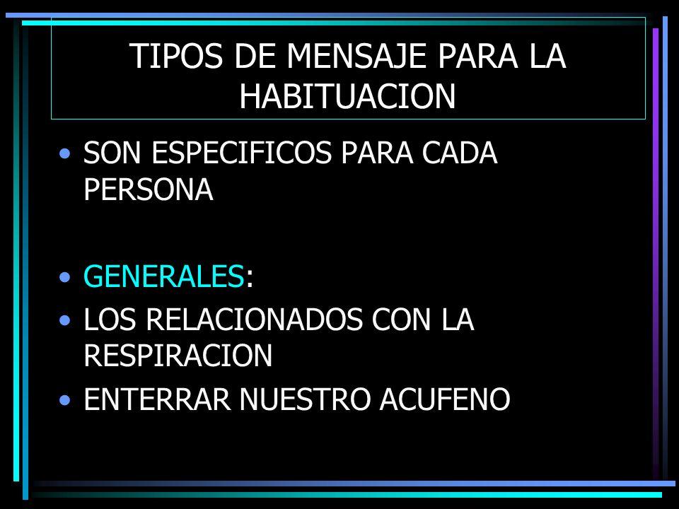 TIPOS DE MENSAJE PARA LA HABITUACION