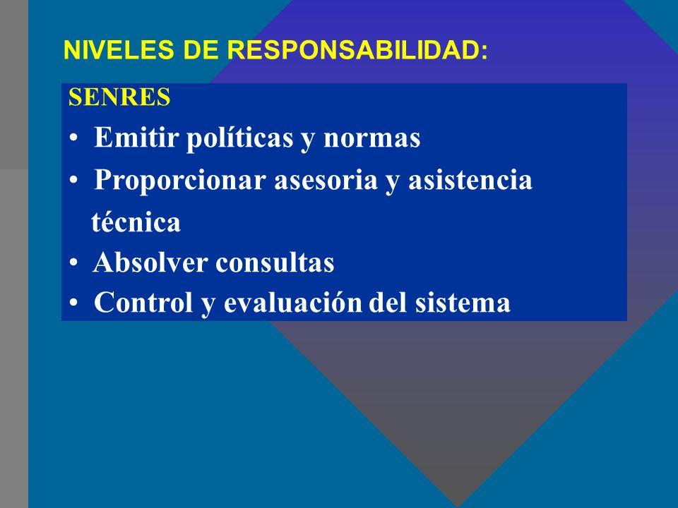 Emitir políticas y normas Proporcionar asesoria y asistencia técnica