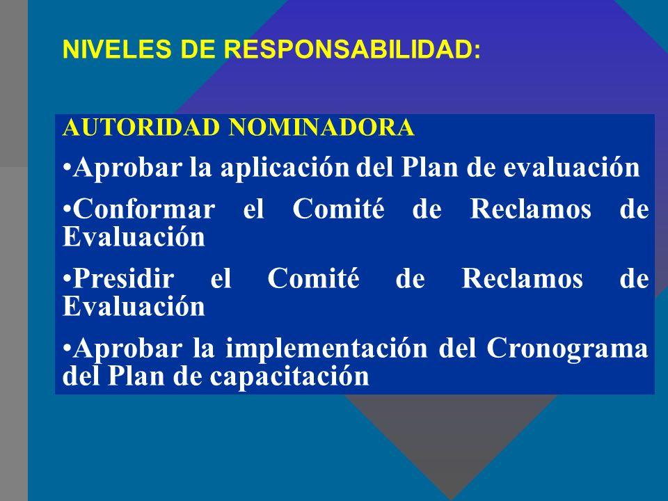 Aprobar la aplicación del Plan de evaluación